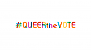 #Queerthevote in rainbow lettering