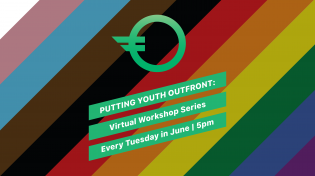 A rainbow background with the name of the workshop series and OutFront's logo