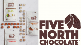 A photo of Five North's packaged chocolate and their logo