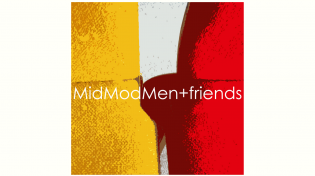 MidModMen's red, white, and yellow logo