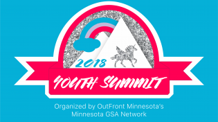 Youth Summit Logo. Pink banner surrounding a glitter sky with mountains, a rainbow and a unicorn.