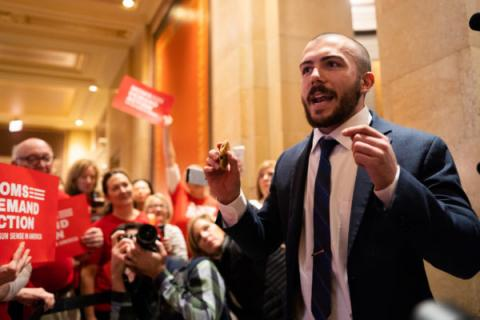 DFL Rep. Hunter Cantrell spoke at a rally at the Minnesota Capitol on Tuesday, Jan. 8, 2019. Evan Frost | MPR News