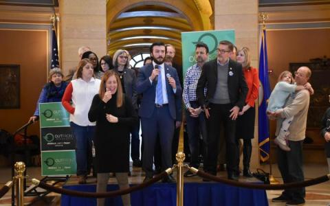 Rep. Hunter Cantrell, D-Savage, along with other Minnesota state lawmakers spoke to attendees at a rally supporting a ban on conversion therapy for minors on Friday, Feb. 14, 2020, at the state Capitol.