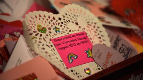 "A wagon-load of Valentine's Day cards urging lawmakers to ban so-called ""gay conversion therapy"" awaits delivery to lawmakers by advocates at the State Capitol in St. Paul on Wednesday, Feb. 13, 2019. (Dave Orrick) / Pioneer Press)"