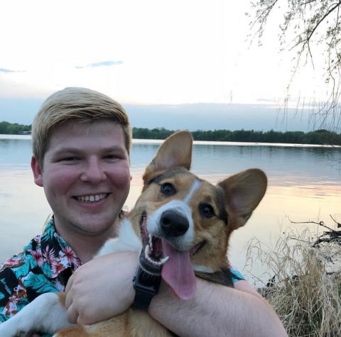 Photo of Wil Sampson-Bernstrom and his Corgi