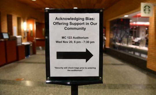 A sign points guests to a forum on bias Wednesday, Nov. 20, 2019, at the Miller Center at St. Cloud State University.