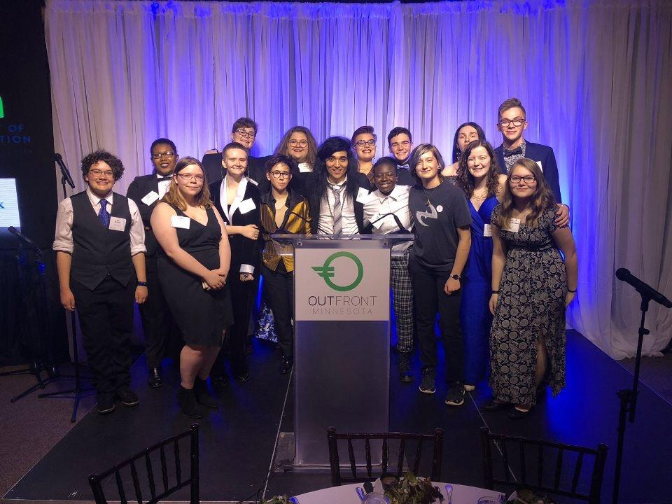 Photo of Youth Leadership Council at OutFront's 2018 Gala