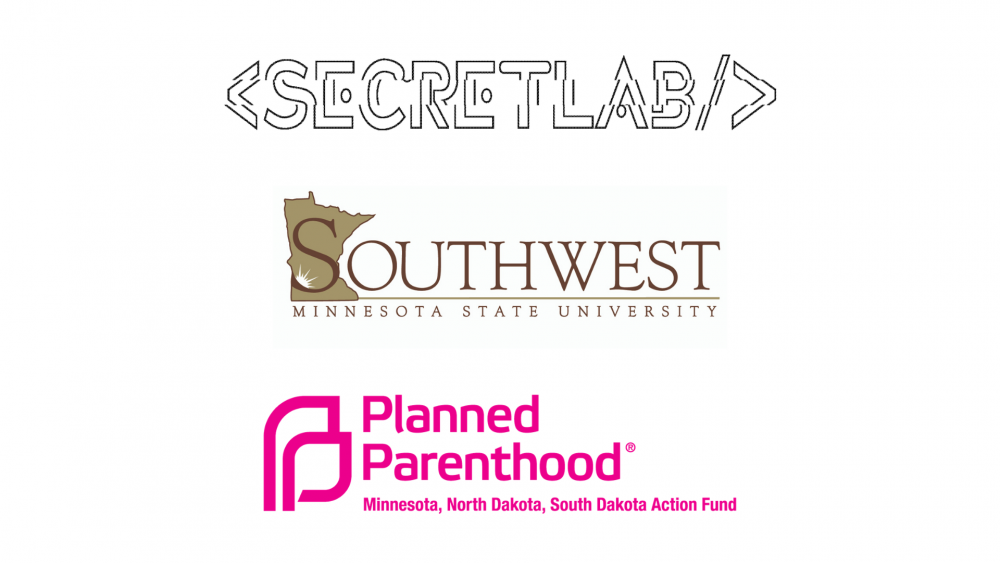 Secret Lab, Planned Parenthood and Southwest Minnesota State University logos