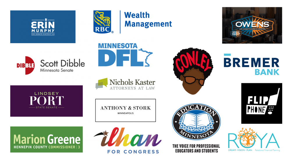 The logos of OutFront's fall fundraiser 2020 sponsors
