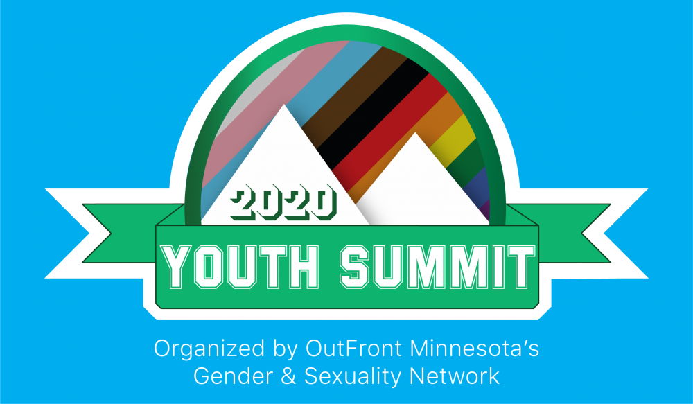 Youth Summit 2020 Logo - Mountains in front of the Pride Flag